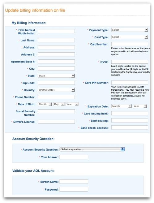 AOL phishing website