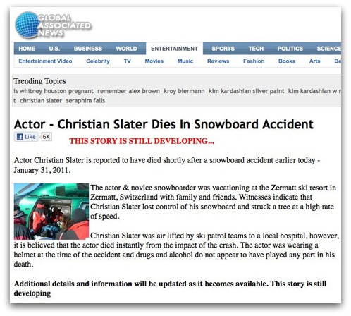 Christian Slater is dead news story
