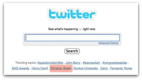 Christian Slater trending on Twitter