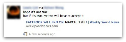 Facebook will end on March 15th! Link to Weekly World News