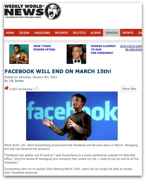 Facebook will end on March 15th! Weekly World News story