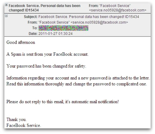 Malicious email message