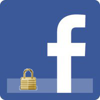 Facebook logo with padlock