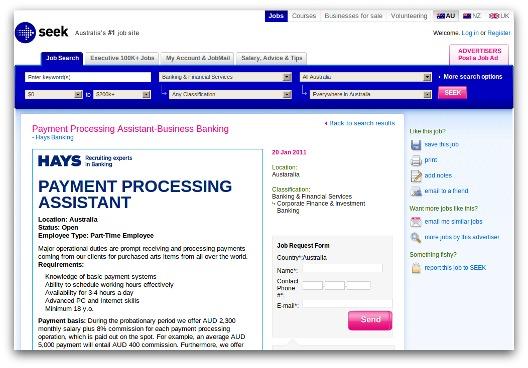 Job from Seek phishing website
