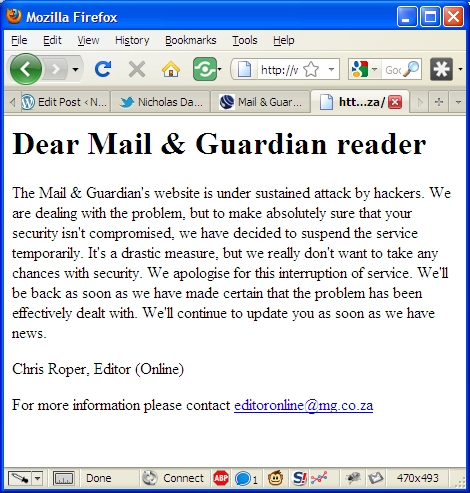 Mail and Guardian website