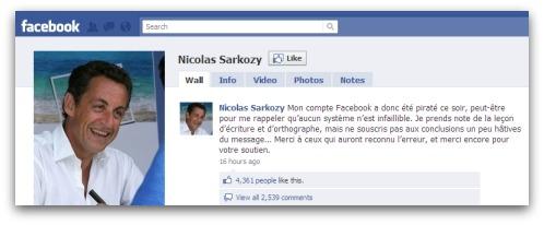 Nicolas Sarkozy on Facebook