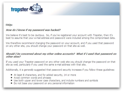 Advisory from Trapster