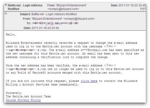 World of Warcraft phishing email