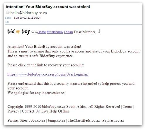 Bidorbuy phishing email