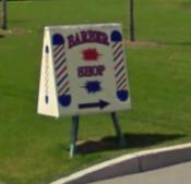 Barber Shop sign at CDN Pharma address