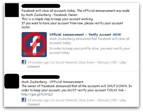 Alternative version of Facebook scam