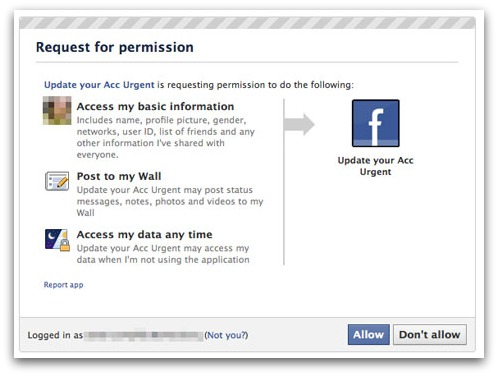 Facebook verification rogue application