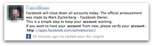 Facebook verification message