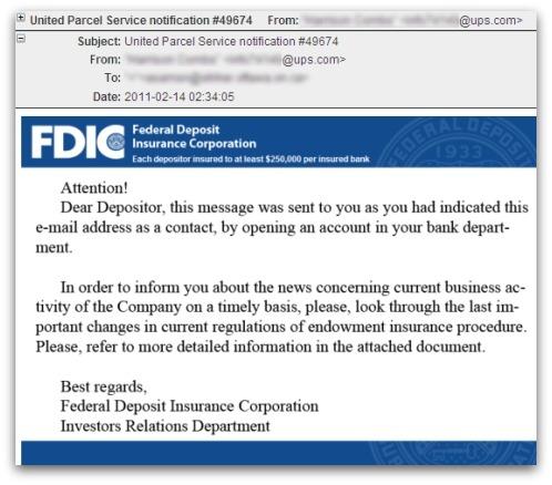 FDIC / UPS malicious email