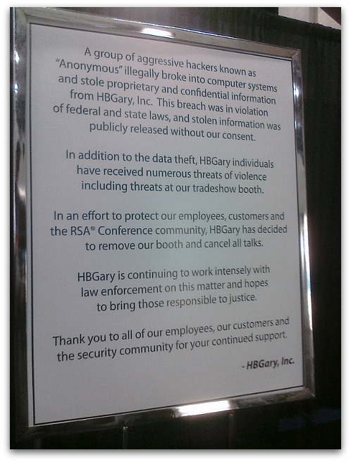 HBGary sign at RSA Conference, San Francisco