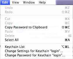 Change Keychain password menu option