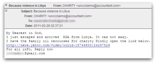 Libyan crisis email scam