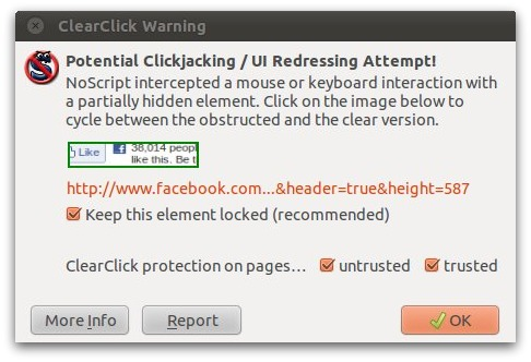 NoScript blocking the clickjacking attack