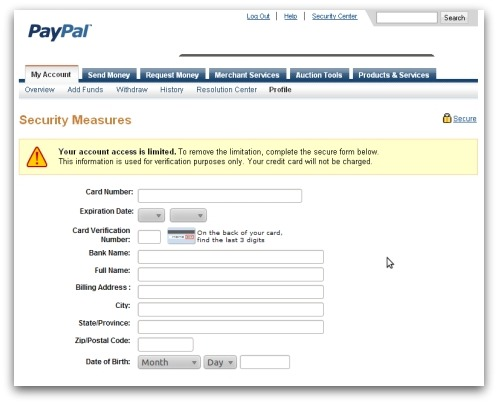 Attached file steals PayPal information