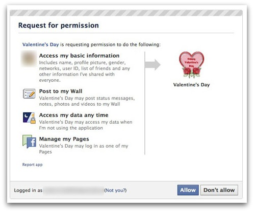Rogue Valentine's Day Facebook app
