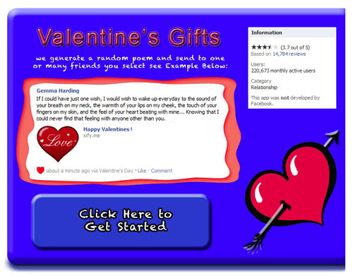 Valentine's Day scam splash screen