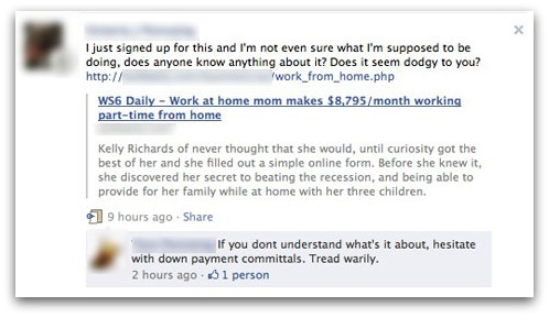 Work from home discussion on Facebook