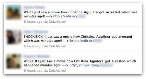 Christina Aguilera got arrested messages