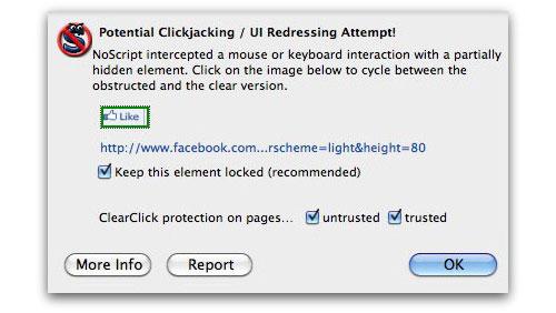 NoScript intercepts clickjacking