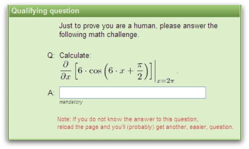 Complicated calculus-based anti-spam CAPTCHA