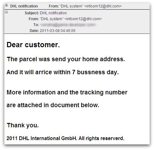 DHL malicious spam