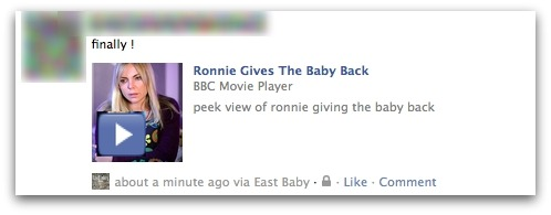 Finally! Ronnie Gives The Baby Back. BBC Movie Player. peek view of ronnie giving the baby back