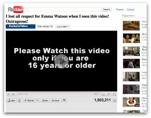 Emma Watson clickjacking page