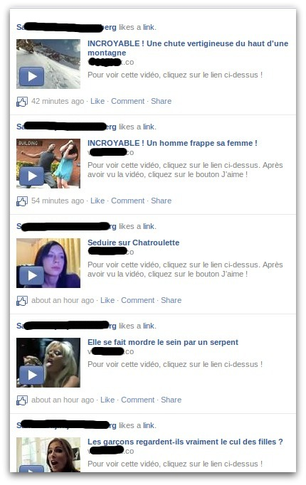 Facebook screenshot of french clickjack attempt
