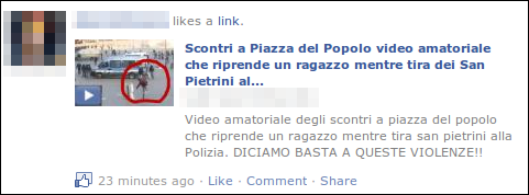 Italian Facebook scam wall post