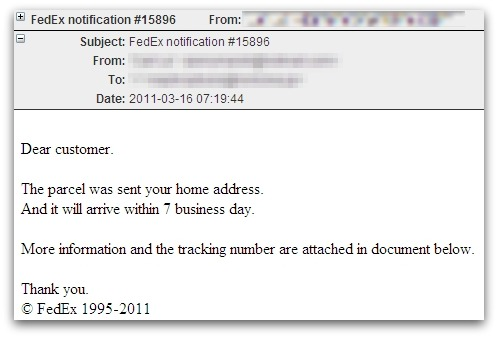 Malicious FedEx notification email