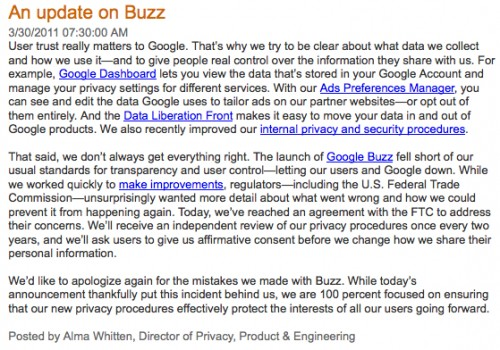 google statement over Buzz