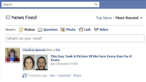 Facebook Wall post about guy who took his picture for 8 years