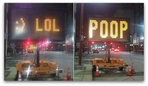 Hacked road sign