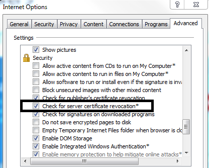 Internet Explorer certificate revocation settings