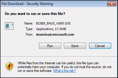 IE 9 download dialog