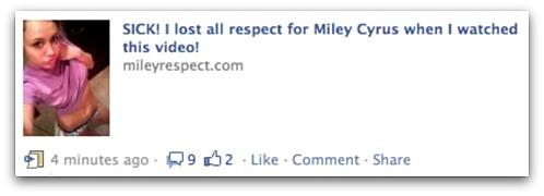 Miley Cyrus Facebook message