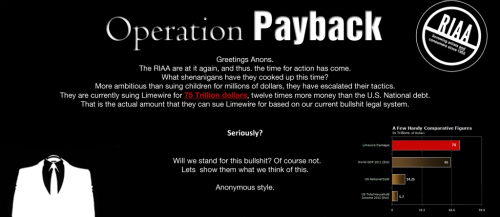 Anonymous hacktivist call to action against RIAA