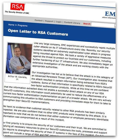 RSA open letter to customers