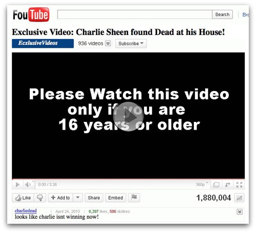 FouTube Charlie Sheen video page