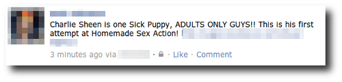 Facebook Charlie Sheen wall post