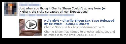 Facebook Charlie Sheen spams