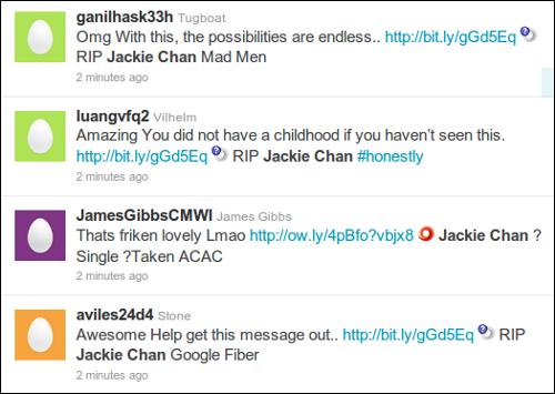 Tweets using RIP Jackie Chan tag
