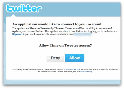 Twitter connect dialog