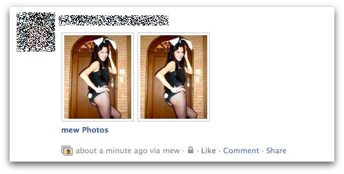 Bunnygirl photo update on compromised Facebook account