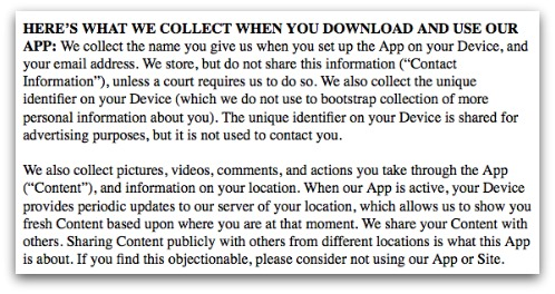 Part of Color's privacy policy